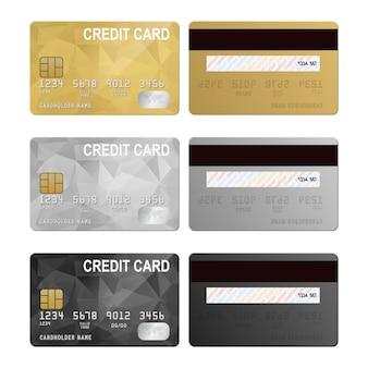 Conjunto de tarjetas de crédito, vista frontal y posterior
