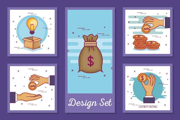 Conjunto de tarjetas de crowdfunding