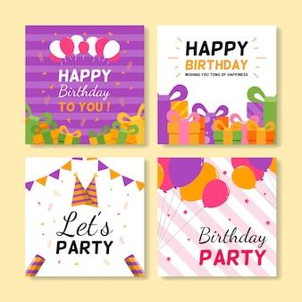 Conjunto de tarjetas cuadradas de felicitación de cumpleaños.