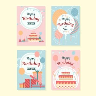 Conjunto de tarjetas de cumpleaños con elementos coloridos de fiesta