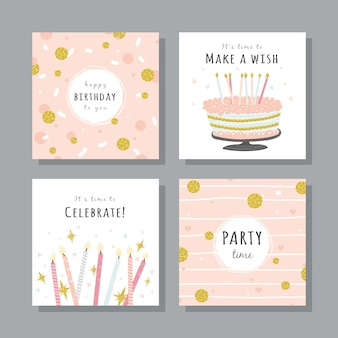 Conjunto de tarjetas de cumpleaños con elementos de fiesta de colores.