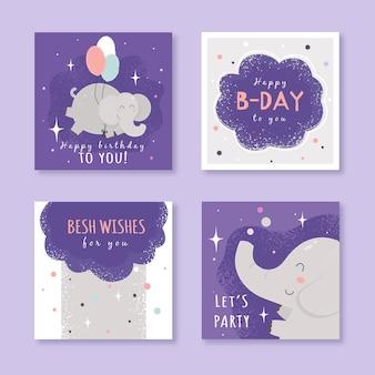Conjunto de tarjetas de cumpleaños con elementos de fiesta coloridos