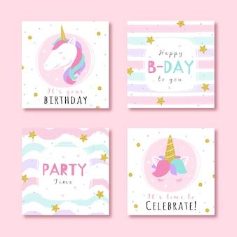 Conjunto de tarjetas de cumpleaños con elementos de fiesta glitter