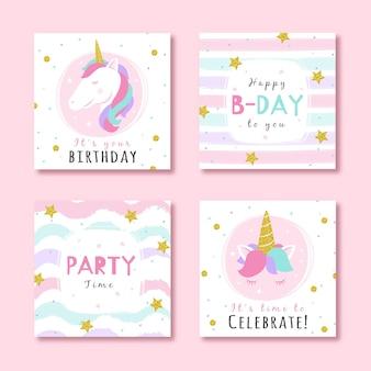 Conjunto de tarjetas de cumpleaños con elementos de fiesta de purpurina.