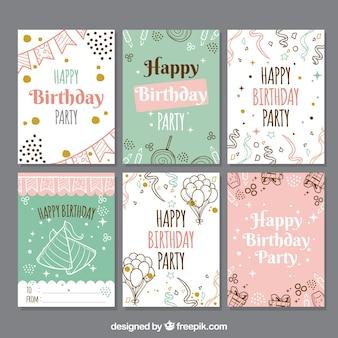 Conjunto de tarjetas de cumpleaños en estilo hecho a mano