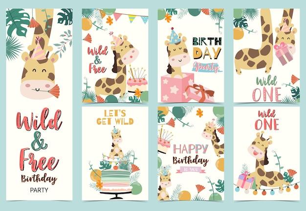 Conjunto de tarjetas de cumpleaños con jirafa