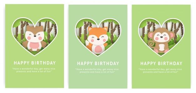 Conjunto de tarjetas de cumpleaños con lindo búho, zorro y mono en el bosque en papel cortado estilo.