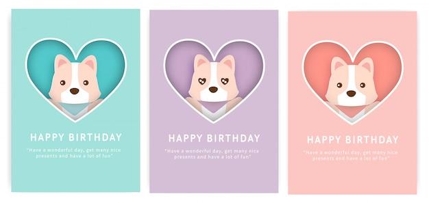 Conjunto de tarjetas de cumpleaños con lindo perro corgi.