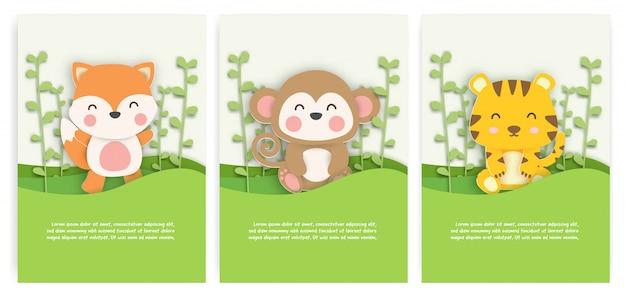 Conjunto de tarjetas de cumpleaños con lindo zorro, mono y tigre en el bosque en papel cortado estilo.