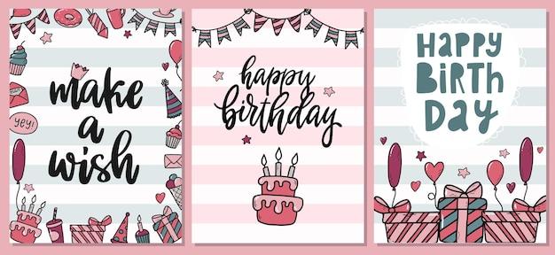 Conjunto de tarjetas de cumpleaños en rayas