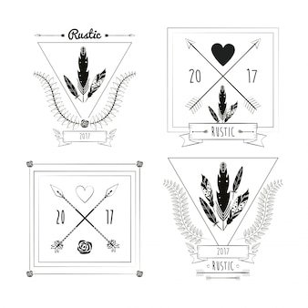 Conjunto de tarjetas de decoración de celebración rústica imagen de ornamento vintage