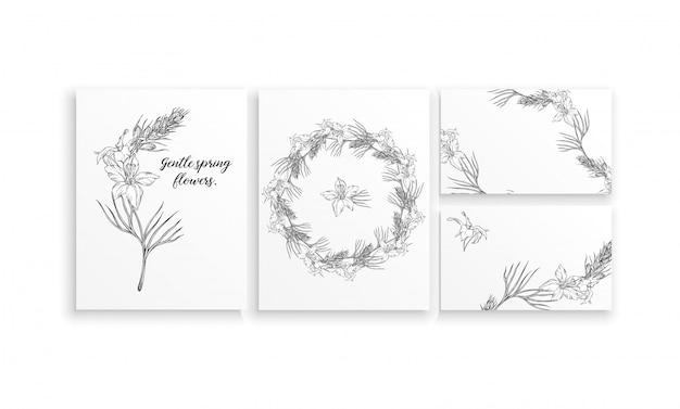 Conjunto de tarjetas con delicadas flores de primavera