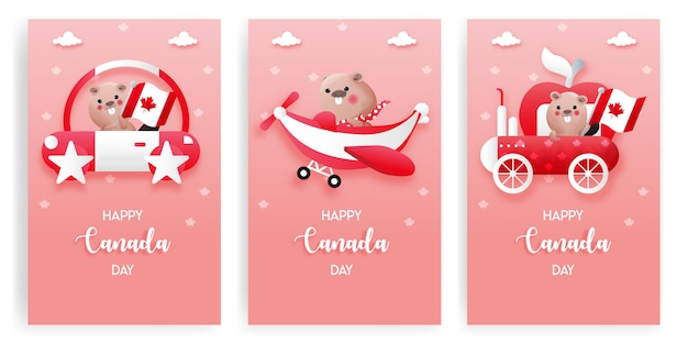 Conjunto de tarjetas del día de canadá con lindo castor en fondo rojo y blanco. feliz dia de canada.