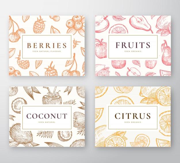 Conjunto de tarjetas dibujadas a mano de coco, cítricos, bayas y frutas. colección de fondos de dibujo abstracto con tipografía retro elegante. bocetos de cocos, cerezas, limón, manzana y pera.
