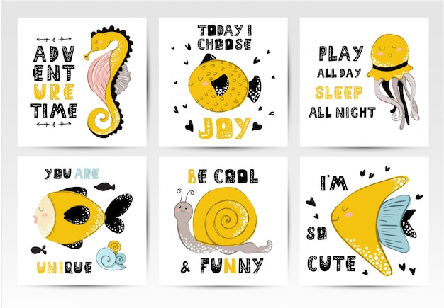 Conjunto de tarjetas, dibujos animados de animales marinos, frases de letras.
