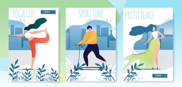Conjunto de tarjetas de dibujos animados plana urbana estilo de vida saludable