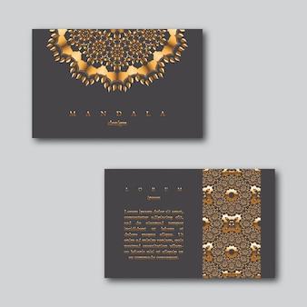 Conjunto de tarjetas doradas de negocios ornamentales con mandala
