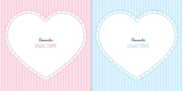 Conjunto de tarjetas de dos corazones con rayas