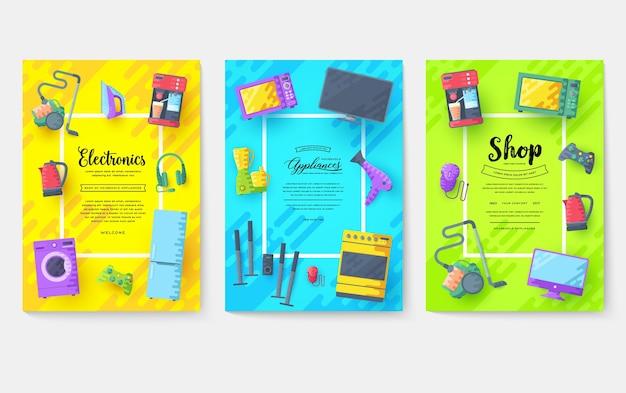 Conjunto de tarjetas de electrodomésticos. plantilla de electrónica de flyear, revistas, carteles, portada de libro, pancartas.