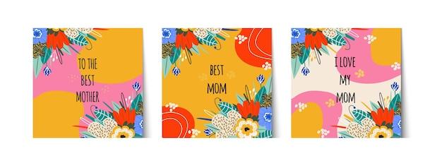 Conjunto de tarjetas elegantes para el día de la madre o el cumpleaños de mamá. saludo a la mejor mamá de letras, amo a mi mamá. ramo, etiqueta de regalo. flores y hojas brillantes. ilustración vectorial
