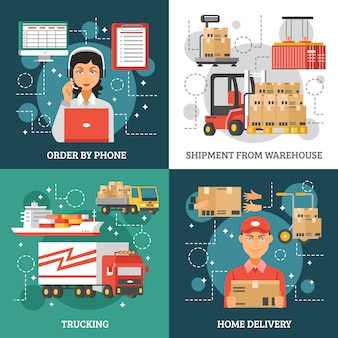 Conjunto de tarjetas de entrega logística