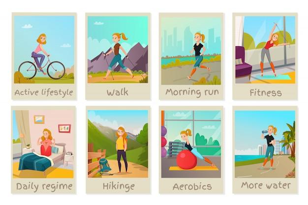 Conjunto de tarjetas de estilo de vida saludable