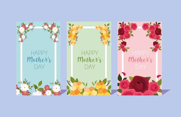 Conjunto de tarjetas con etiqueta feliz dia de las madres