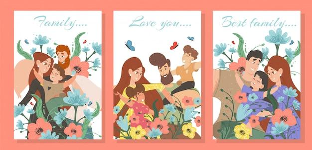 Conjunto de tarjetas familiares felices