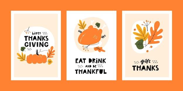 Conjunto de tarjetas de felicitación de acción de gracias con calabaza