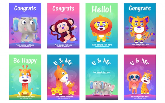Conjunto de tarjetas de felicitación de animales lindos