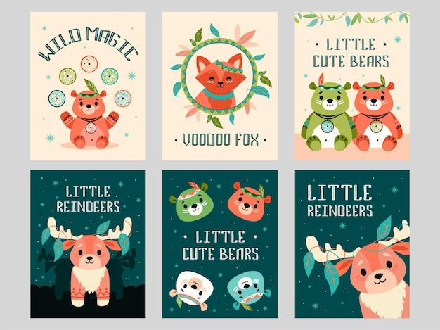 Conjunto de tarjetas de felicitación de animales salvajes.