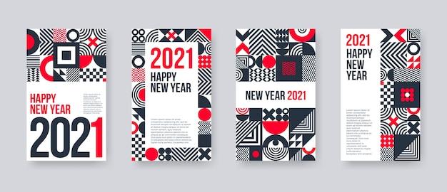 Conjunto de tarjetas de felicitación de año nuevo. póster con formas geométricas y patrones.
