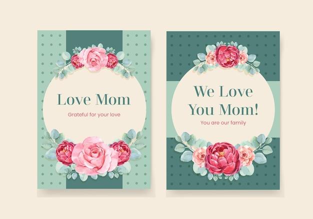 Conjunto de tarjetas de felicitación del día de las madres felices