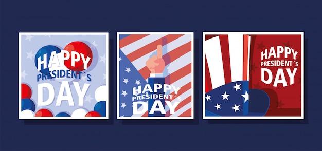 Conjunto de tarjetas de felicitación del día del presidente