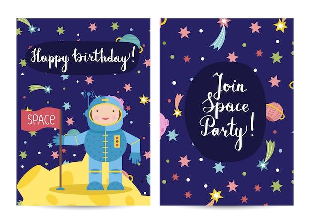 Conjunto de tarjetas de felicitación de dibujos animados feliz cumpleaños