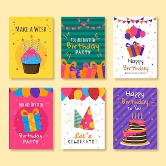 Conjunto de tarjetas de felicitación e invitaciones de cumpleaños.