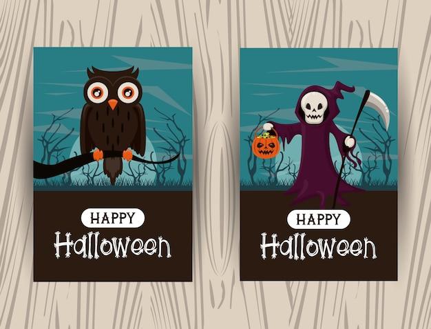 Conjunto de tarjetas de felicitación de feliz halloween con dibujos animados