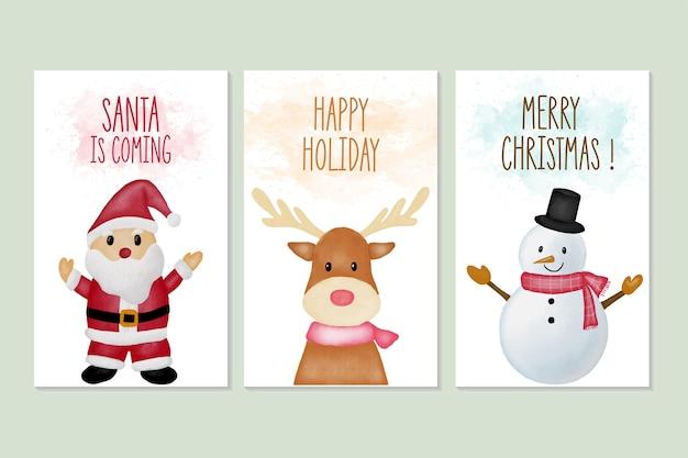 Conjunto de tarjetas de felicitación de feliz navidad y año nuevo con ilustración de acuarela