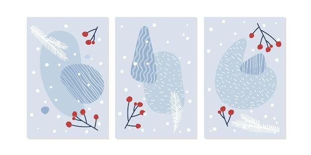 Conjunto de tarjetas de felicitación de feliz navidad con formas geométricas abstractas de invierno