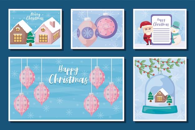 Conjunto de tarjetas de felicitación de feliz navidad