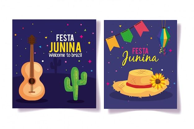 Conjunto de tarjetas de felicitación de festa junina con decoración