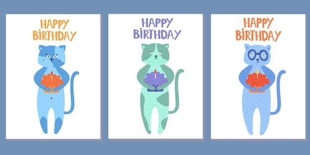 Conjunto de tarjetas de felicitación con gatos. feliz cumpleaños. ilustración vectorial aislado