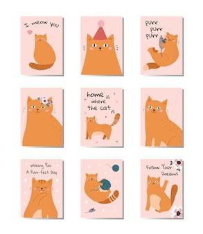 Conjunto de tarjetas de felicitación con gatos graciosos