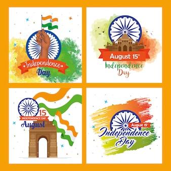 Conjunto de tarjetas de felicitación, indio feliz día de la independencia