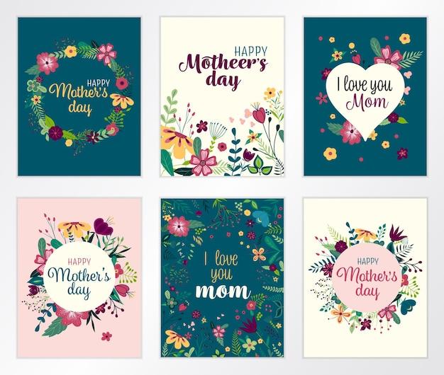 Conjunto de tarjetas de felicitación de letras feliz día de la madre con flores.