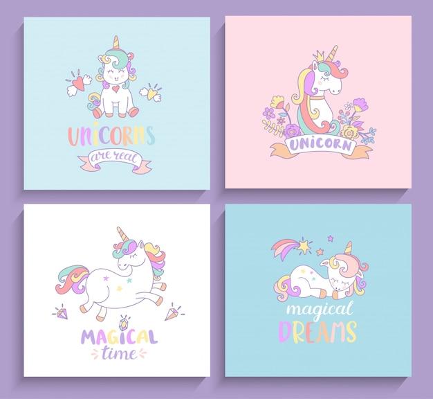 Conjunto de tarjetas de felicitación mágicas de unicornios.