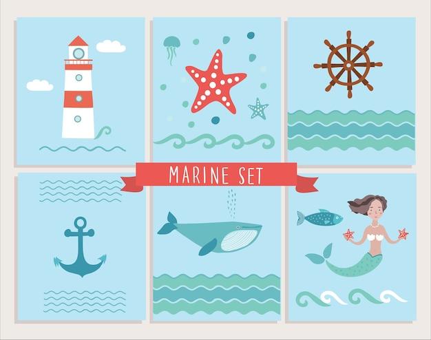 Conjunto de tarjetas de felicitación marinas y elementos marinos