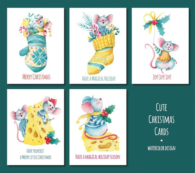 Conjunto de tarjetas de felicitación de navidad con ratones