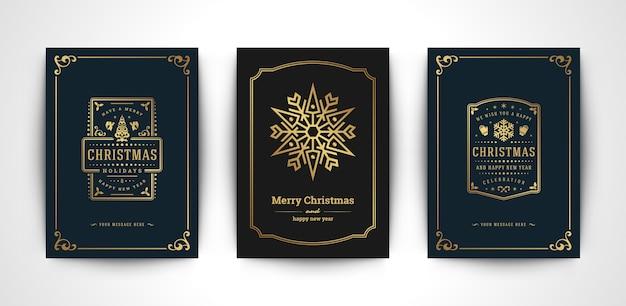 Conjunto de tarjetas de felicitación de navidad
