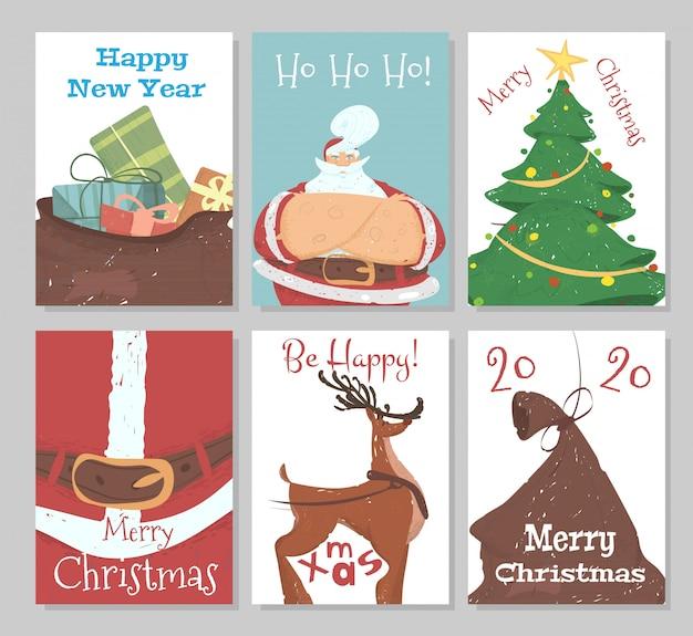 Conjunto de tarjetas de felicitación navideñas